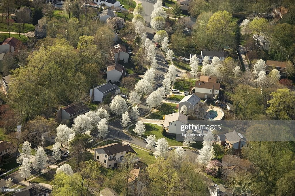 Aerial view of suburban Baltimore, Maryland
