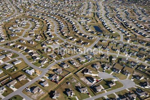 aerial view of suburban community stock photo