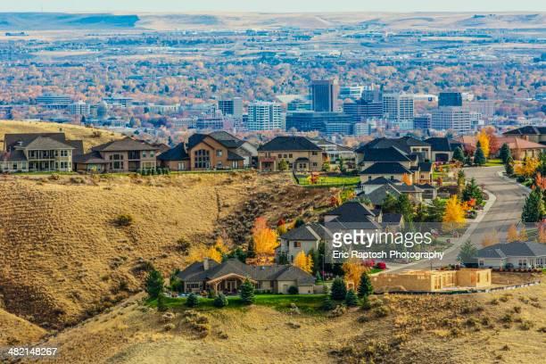 Aerial view of suburban landscape, Boise, Idaho, United States