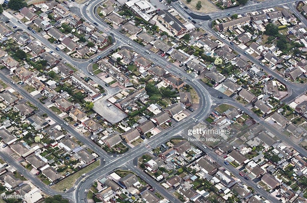 Aerial view of suburban neighborhood : Stock Photo