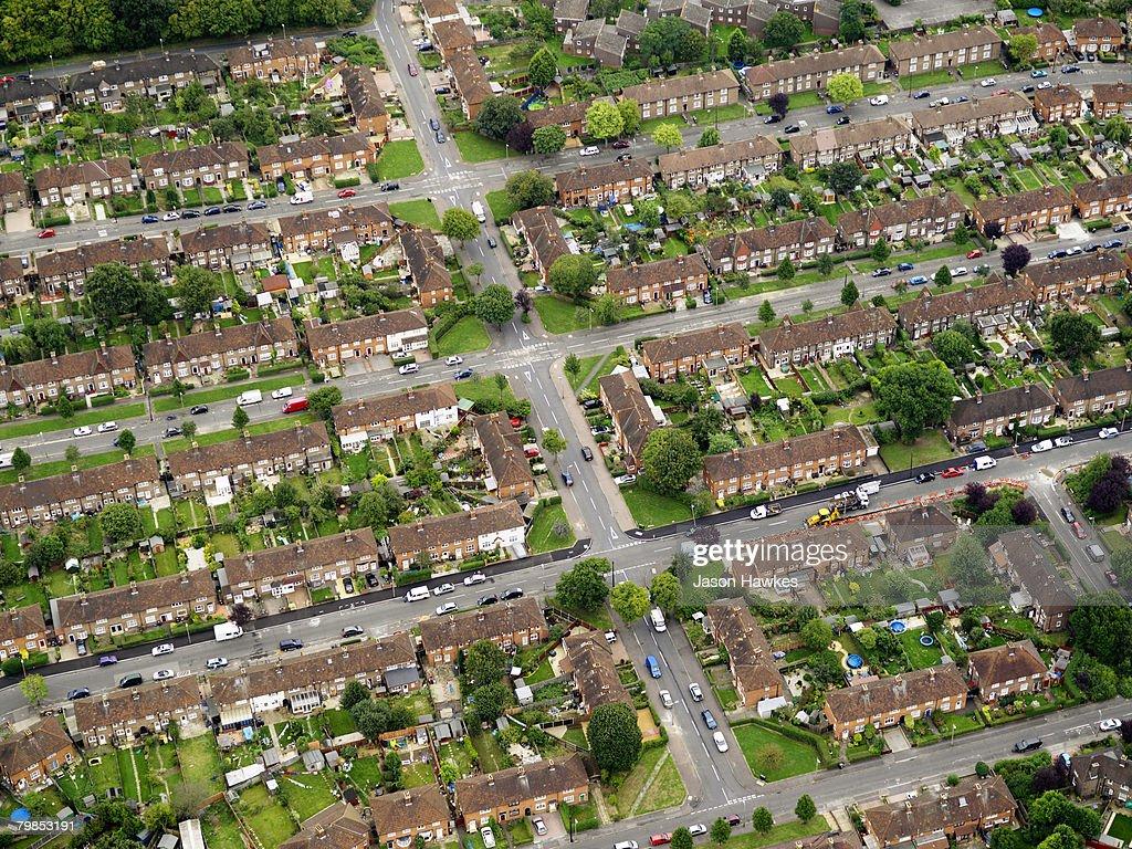 Aerial view of suburban residential housing on September 11, 2007 in London.