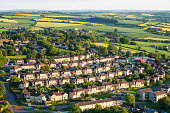 Suburban houses and rolling countryside on the outskirts of Bath in Somerset, England.