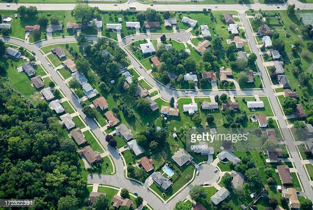 Aerial view of suburbia.