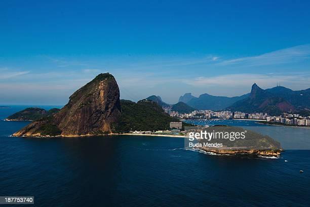 Aerial view of Sugar Loaf mountain on November 12 2013 in Rio de Janeiro Brazil