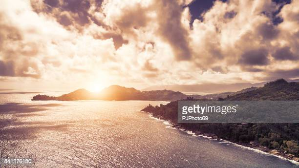 Aerial view of sunset in Mahe Island - Seychelles