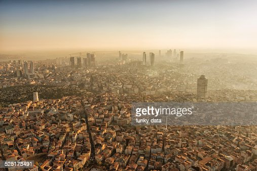 Aerial view of sunset moments on modern Istanbul