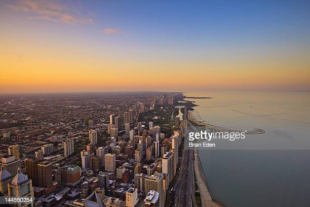 Aerial view of sunset on Chicago's North Shore