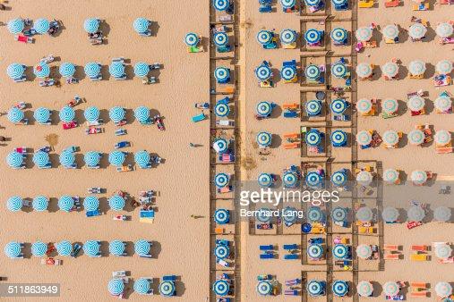 Aerial View of sunshades at a beach resort