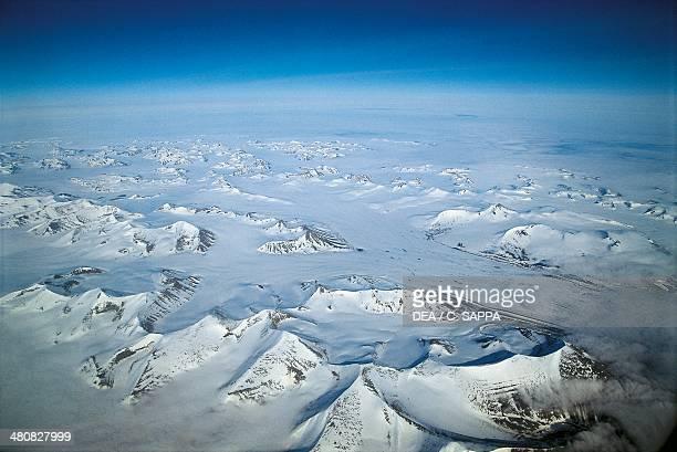 Aerial view of Svalbard Islands Norway