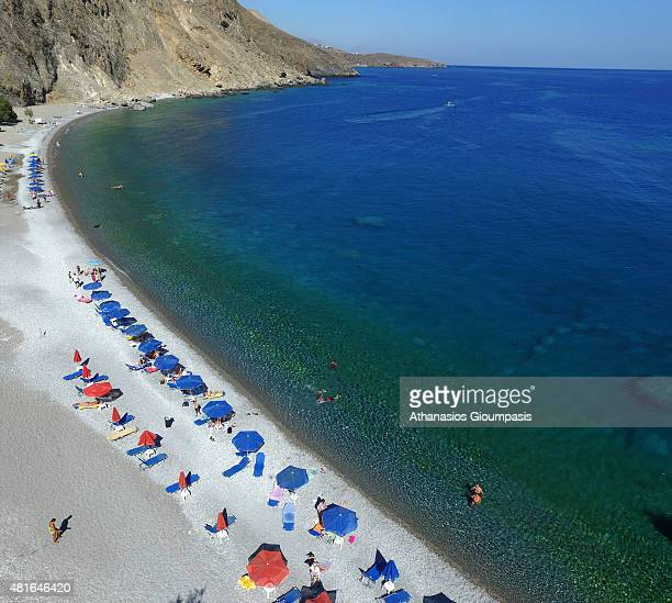 Aerial view of Sweet water beach or Glykanera on July 16 2015 in Crete GreeceBeach located about halfway between Loutro and Hora Sfakion Naturism...