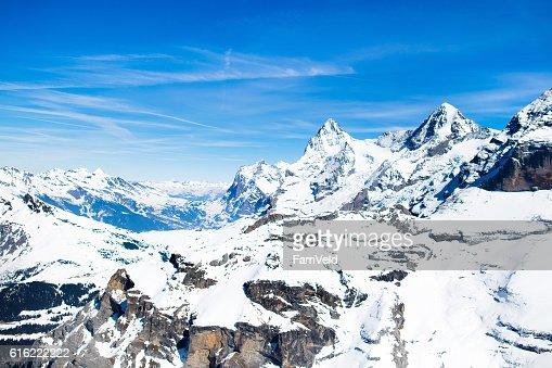 Aerial view of Swiss Alps from helicopter : Stock Photo