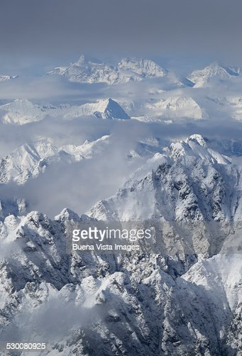 Aerial view of Swiss Alps in winter