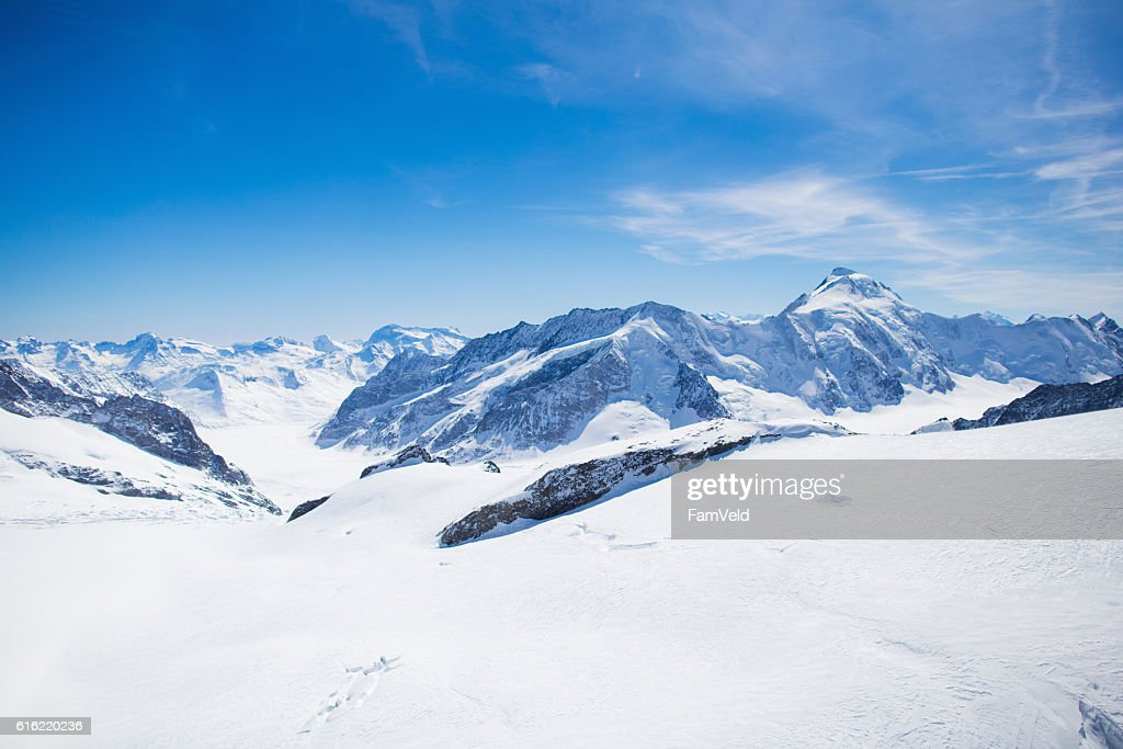 Aerial view of Swiss Alps mountains : Stock Photo