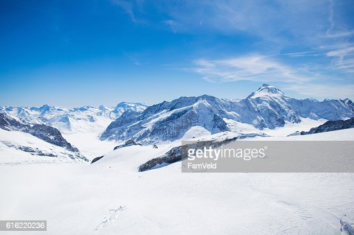 Aerial view of Swiss Alps mountains : Stock-Foto