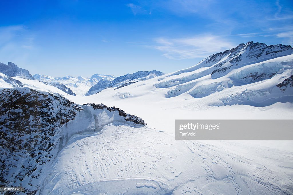 Aerial view of Swiss Alps : Stock Photo
