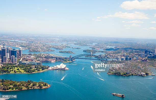 Aerial view of Sydney Harbor and downtown