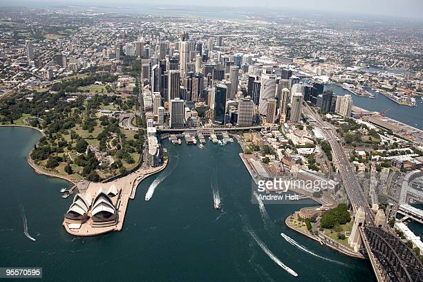 Aerial View of Sydney Harbour, Opera House, Bridge