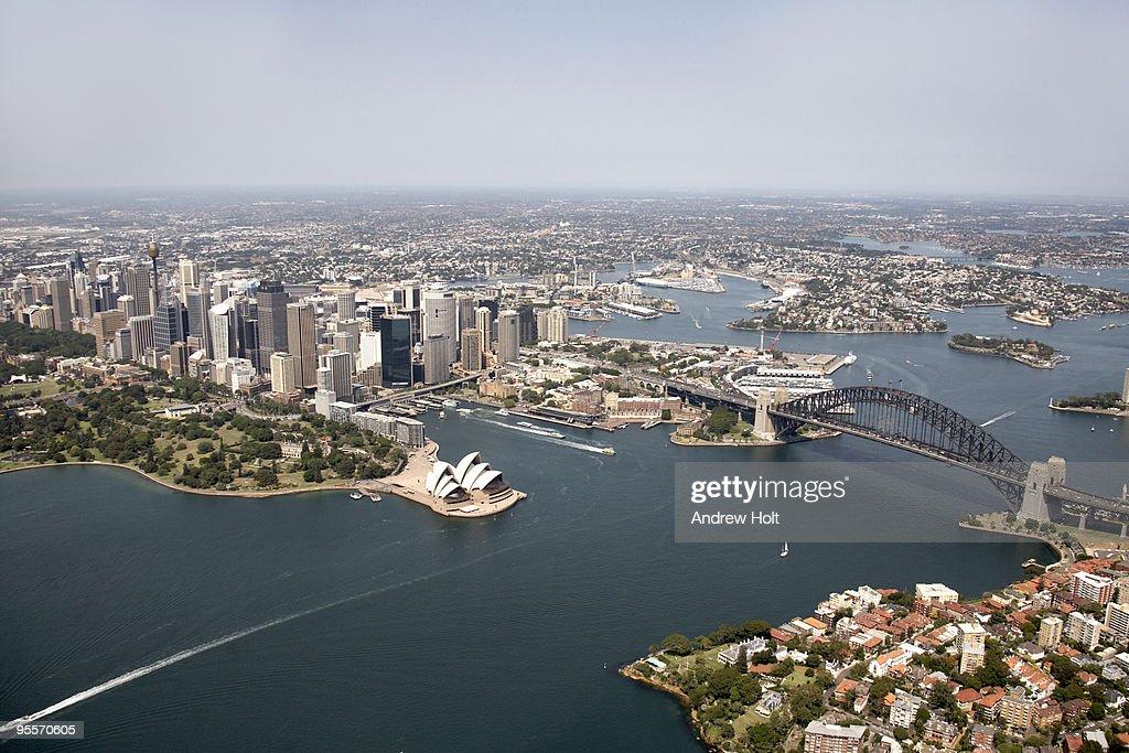 Aerial View Of Sydney Harbour Opera House Bridge Stock ...
