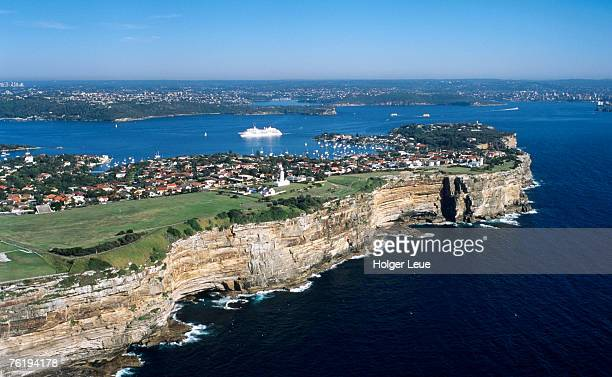 Aerial view of Sydney Heads and MS Europa, Sydney, New South Wales, Australia, Australasia