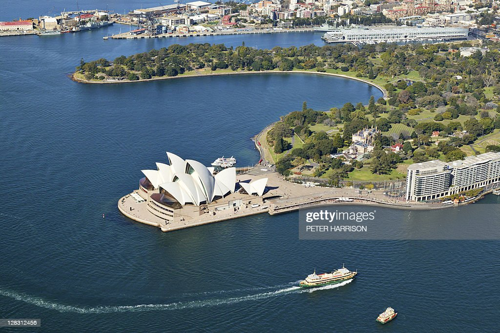 Aerial view of Sydney Opera House and harbour, NSW, Australia