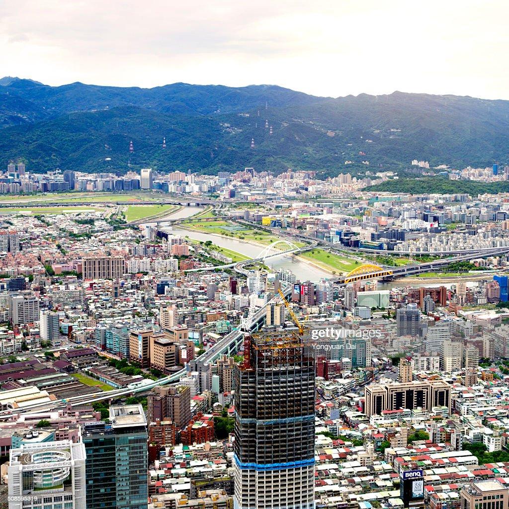 Aerial view of Taipei : Stock Photo