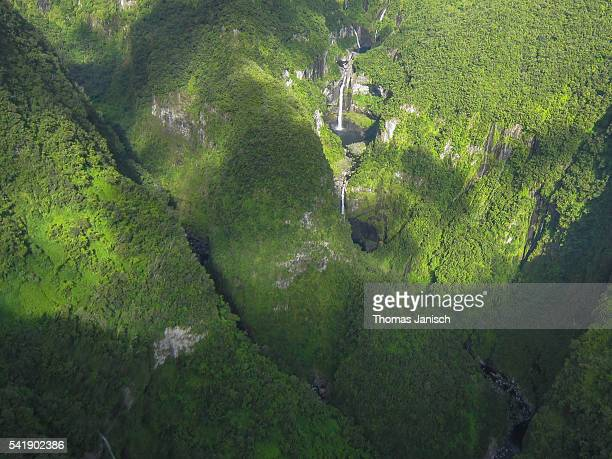 Aerial view of Takamaka waterfalls, Reunion island