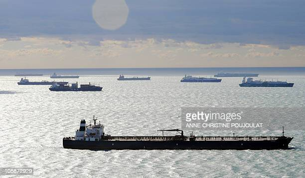 Aerial view of Tankers and other vessels waiting off shore Marseille's port in Martigues on October 17 where two oil terminals are blocked by strike...