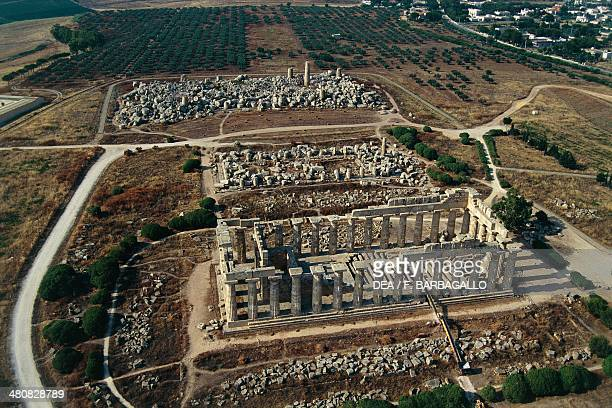 Aerial view of temples E and F in the Archaeological Park of Selinunte Province of Agrigento Sicily Region Italy