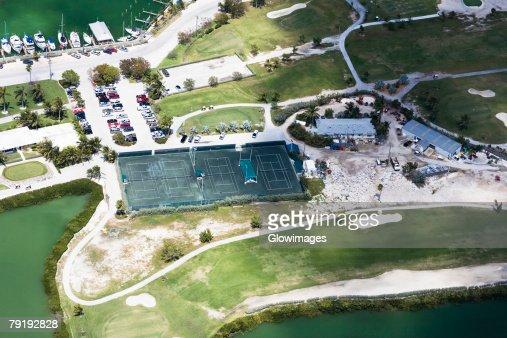 Aerial view of tennis court, Florida Keys, Florida, USA : Stock Photo