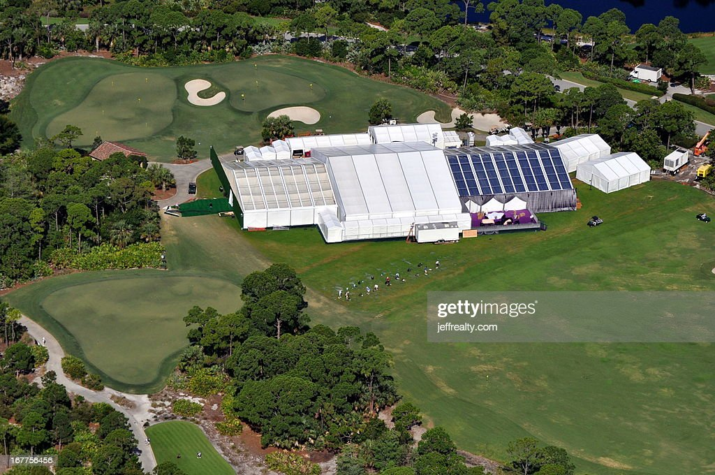 Aerial view of tents set up for Michael Jordan and Yvette Prieto's wedding at the Bear's Club on April 27, 2013 in Jupiter, Florida. The wedding took place at the Episcopal Church of Bethesda-by-the-Sea in Palm Beach, Florida.