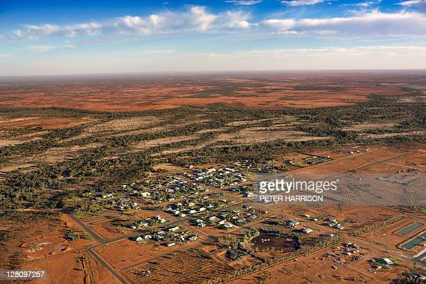 Aerial view of Thargomindah, Queensland, Australia