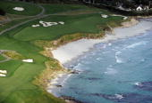 Aerial view of the 10th hole at the Pebble Beach Golf Links on May 9 2010 in Pebble Beach California