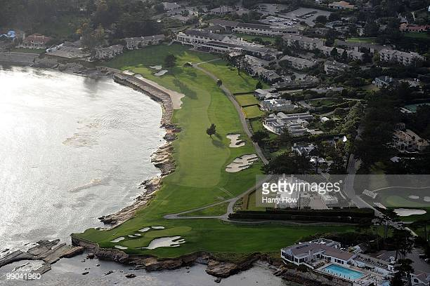 Aerial view of the 17th and and 18th hole at the Pebble Beach Golf Links on May 9 2010 in Pebble Beach California