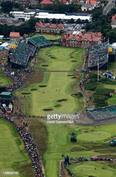 Aerial view of the 18th hole and clubhouse during the second round of the 141st Open Championship at Royal Lytham St Annes Golf Club on July 20 2012...