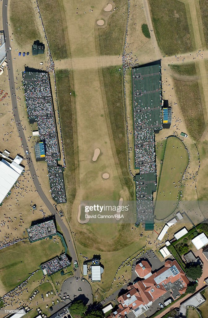 Aerial View of the 18th hole and the clubhouse during the second round of the 142nd Open Championship at Muirfield on July 19, 2013 in Gullane, Scotland.