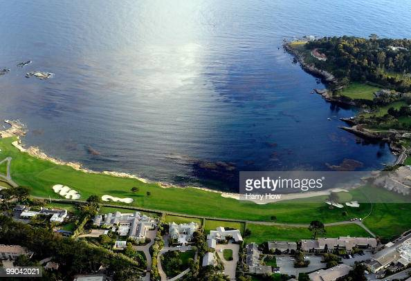 Aerial View of the 18th hole at the Pebble Beach Golf Links on May 9 2010 in Pebble Beach California