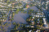 Aerial view of the residential area of the suburb of Milton during the great Brisbane Flood of 2011, the worst flooding disaster in Australia's History. Image includes submerged parkland and local din