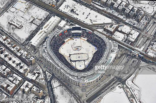 Aerial view of the 2014 Coors Light NHL Stadium Series between the New York Rangers and the New Jersey Devils at Yankee Stadium on January 26 2014 in...
