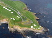Aerial view of the 7th and 8th hole at the Pebble Beach Golf Links on May 9 2010 in Pebble Beach California