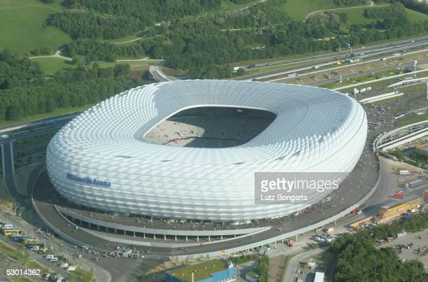 A aerial view of the Allianz Arena on June 2 2005 in Munich Germany