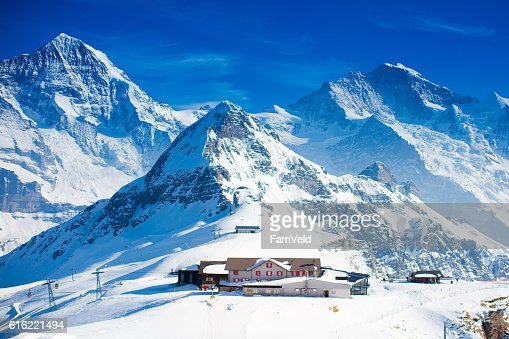 Aerial view of the Alps mountains in Switzerland : Stock Photo