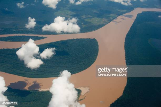 Aerial view of the Amazon river Amazonas state Brazil on December 12 2013 AFP PHOTO / Christophe Simon