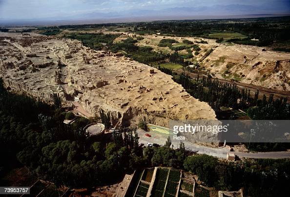Aerial view of the ancient city of Jiaohe built 2300 years ago August 1995 in Turpan China