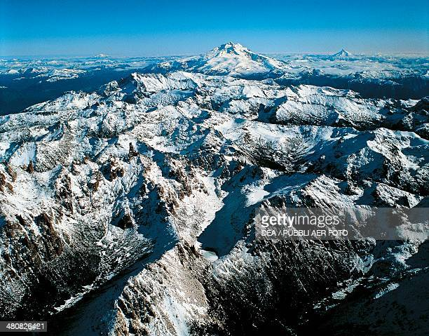 Aerial view of the Andes with Mount Catedral 2388m Tronador 3554 m and Puntiagundo 2493 m Rio Negro Province Argentina