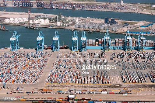 Aerial view of the APM container terminal in rotterdam, Netherla