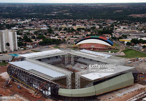 Aerial view of the Arena Pantanal stadium under construction in Cuiaba Mato Grosso State Brazil on 12 December 2013 The Arena Pantanal will host some...