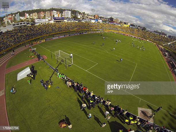 Aerial view of the Atahualpa Olimpic Stadium before the FIFA World Cup Brazil 2014 South American qualifier football match Ecuador vs Argentina in...