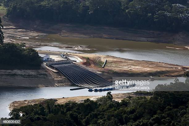 Aerial view of the Atibainha river dam in Nazare Paulista during a drought affecting Sao Paulo state Brazil on December 17 2014 The Atibainha river...