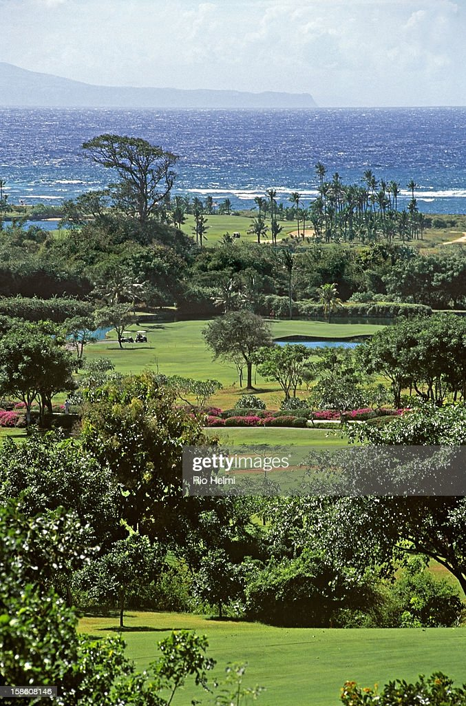 Aerial view of the Bali Golf and Country Club at Nusa Dua, across to the island of Nusa Penida to the east..