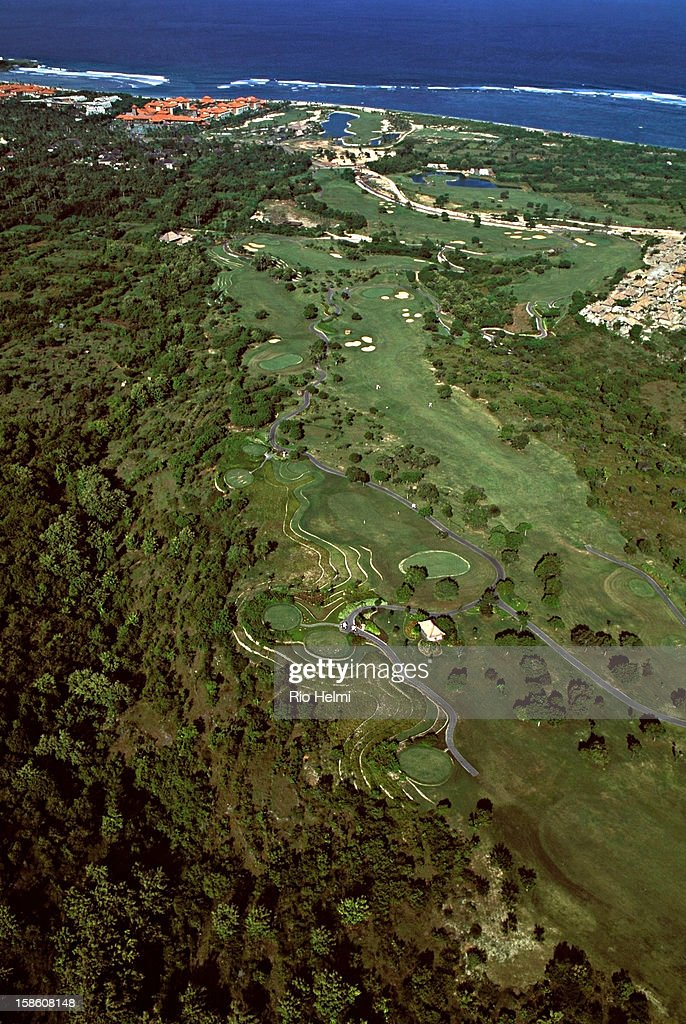 Aerial view of the Bali Golf and Country Club at Nusa Dua, with the Bali Hilton in the background..
